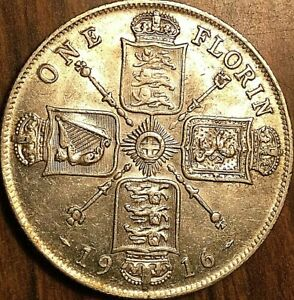 1916-GREAT-BRITAIN-GEORGE-V-SILVER-FLORIN-COIN-Excellent-example