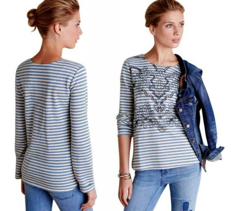 Anthropologie First Mate Top Large 10 12 Blau Shirt Embroiderot Cut Outs Cotton
