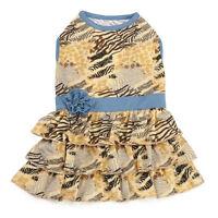 Zack & Zoey Wild Savannah Tiered Dog Dress Jungle Safari Print Pet