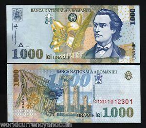 NOTE P-102a Mihai Eminescu Romanian Greatest Poet 1000 Lei 1993 ROMANIA UNC XL