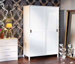 kleiderschrank m schiebet ren massivholz wei 120 cm breit neu ovp ebay. Black Bedroom Furniture Sets. Home Design Ideas