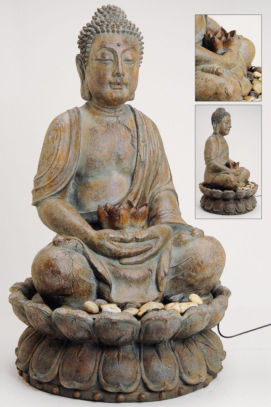 Fontaine Bouddha 85cm Gris Marron ÉgaleHommes t pour en plein Statue Air Statue plein Sculpture 309e5d