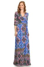 New Blue  3/4 Looped sleeve waist tie overlap Maxi Dress Made in USA SZ Large