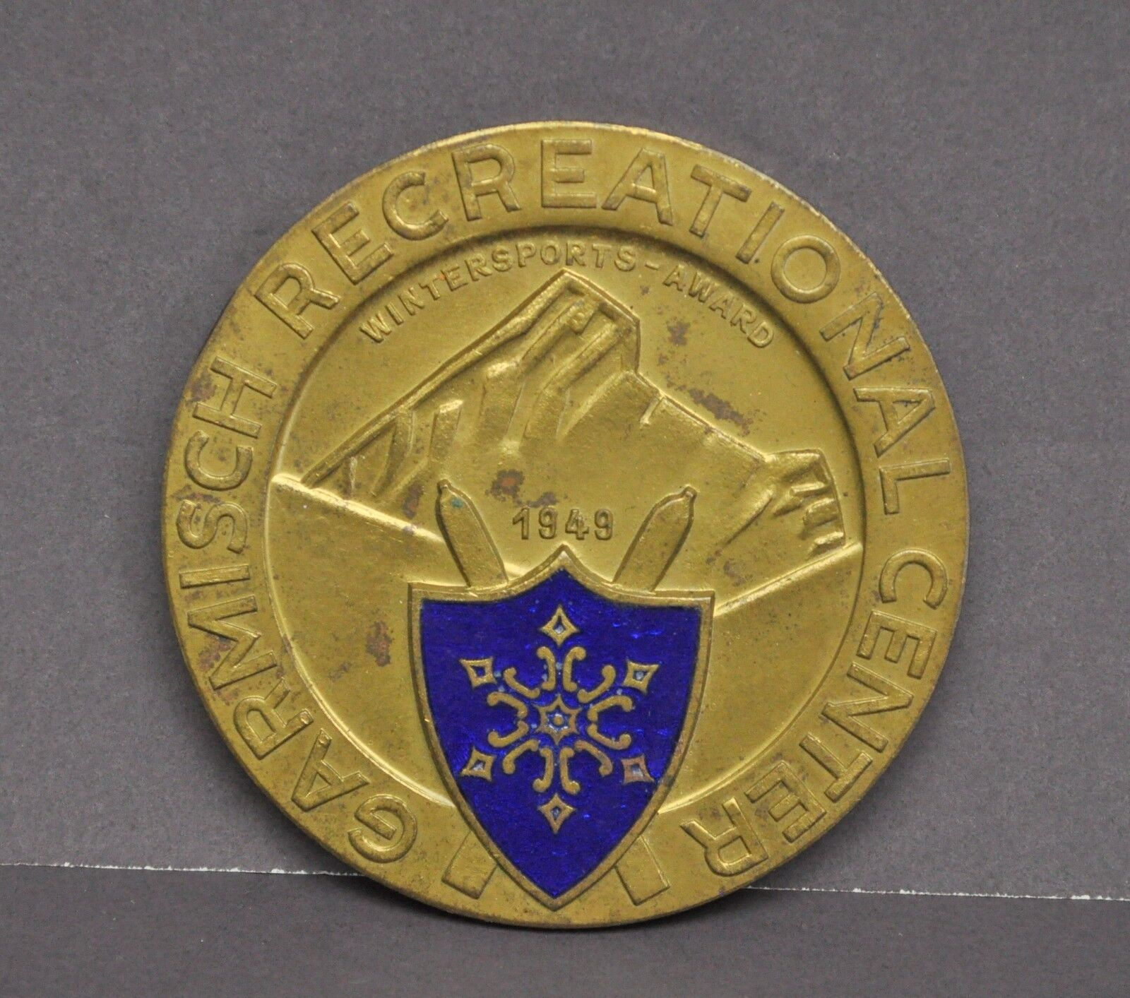 Vintage 1949 Garmisch Recreation Center Fifth Place Ski Championship Medal Award