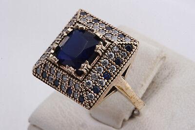 Turkish Handmade Ottoman Sapphire Topaz 925 Sterling Silver Women's Ring Size 8