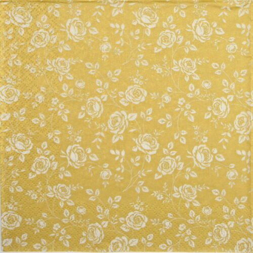 Little Roses gold party 4x single Paper Napkins for Decoupage