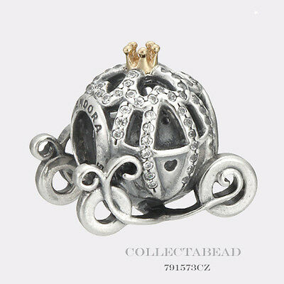Authentic Pandora Silver & 14K Disney Cinderella Pumpkin Coach Bead 791573CZ