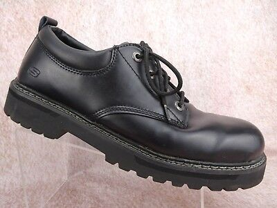 skechers mens black leather tom cats casual oxford laceup
