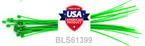 """1000 USA Made TOUGH TIES 8/"""" inch 50lb Nylon Tie Wraps Wire Cable Zip Ties Green"""