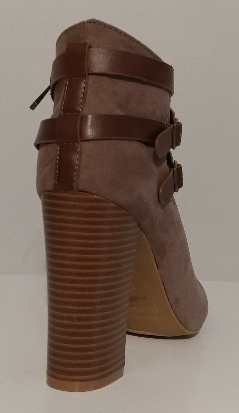 NEW Bamboo Taupe Suede Ankle Stiefel Open Toe 4    Heels Größe 9M US 39M EUR 34e19e