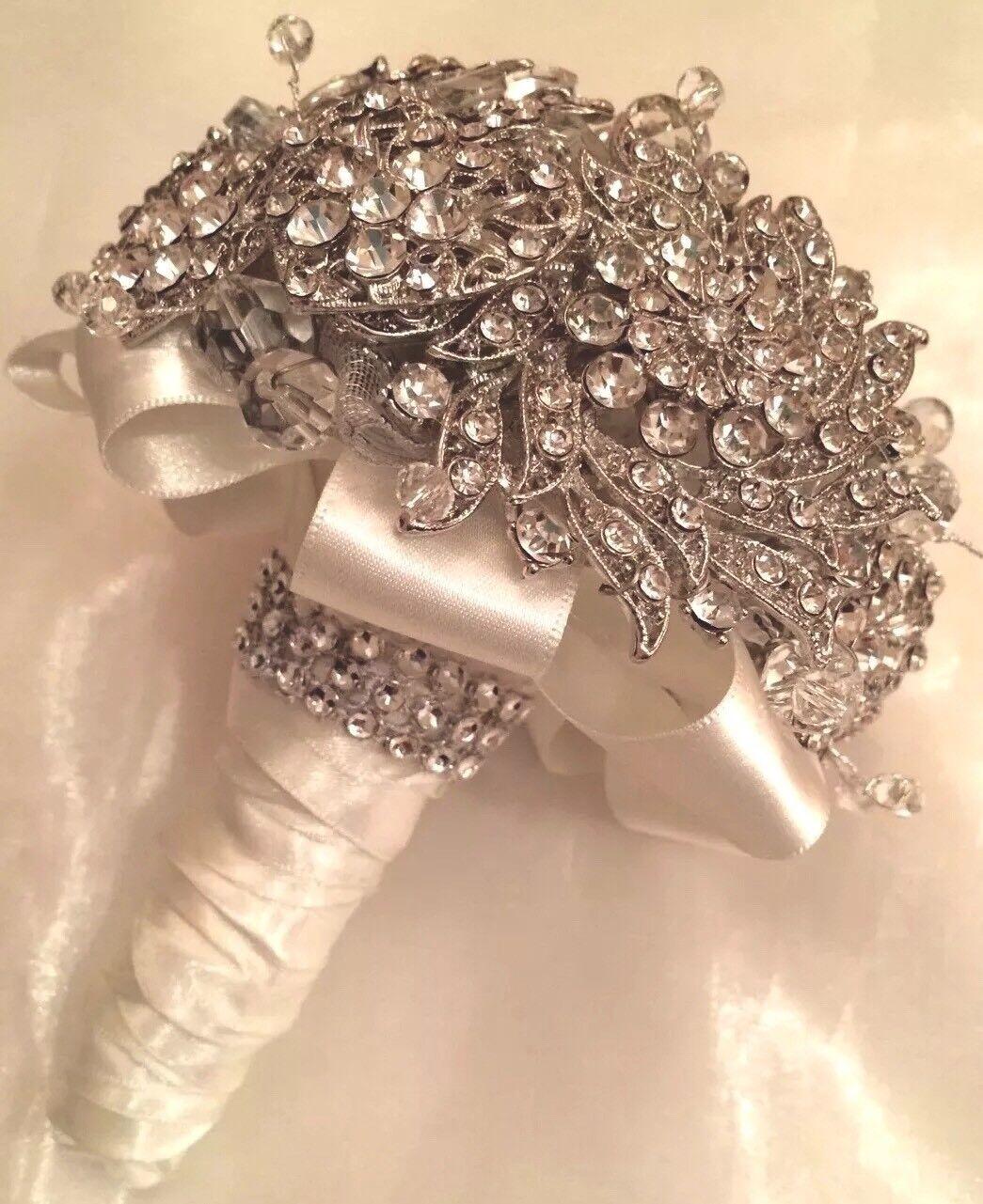 ️ Bridal Diamanté Brooch Bouquet Crystal Beaded Posy And Buttonhole