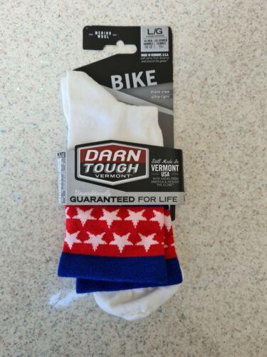 Darn Tough Stars//Stripes Ultra Light Mens Cycling Sock White Large UK 9.5-11.5