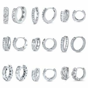 Sterling-Silver-925-PRETTY-HUGGIE-EARRINGS-WITH-CLEAR-CUBIC-ZIRCONIA-STONE