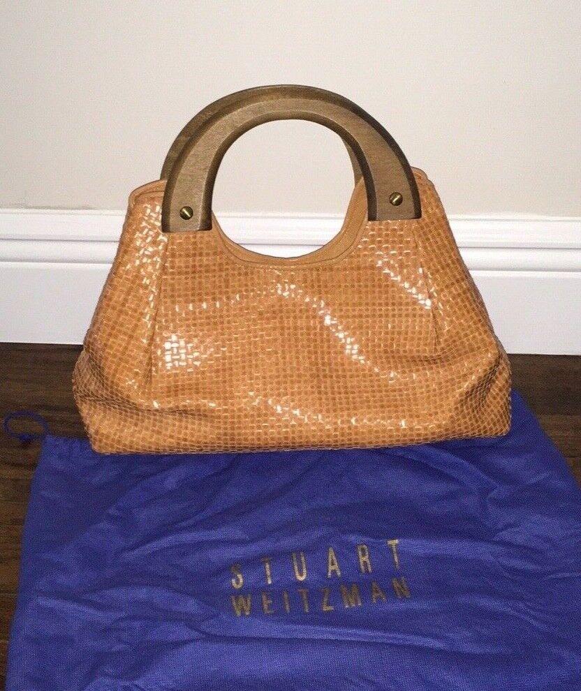 Stuart Weitzman Woven Leather Handbag Purse Satchel Rare Find!!