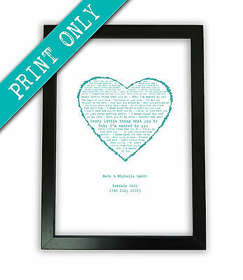 PERSONALISED FIRST DANCE song lyrics A3 PRINT heart Valentines Day Gift present