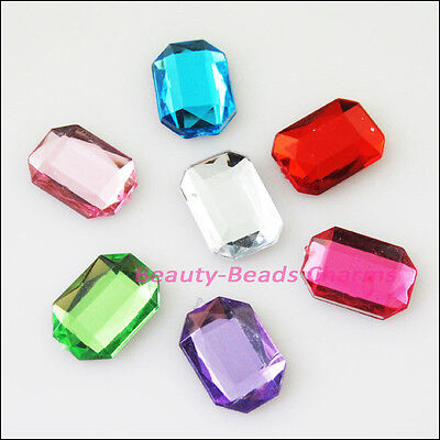 40 New Charms Mixed Hexagon Faceted Acrylic Rhinestone Flat Back 10x14mm