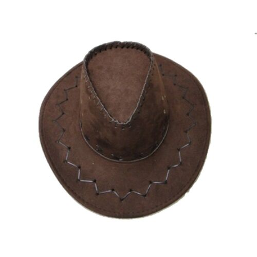 AUSTRALIAN Marrone Cowboy Cappello Western in Pelle Scamosciata Look Aussie Stile Fancy Dress Cappelli