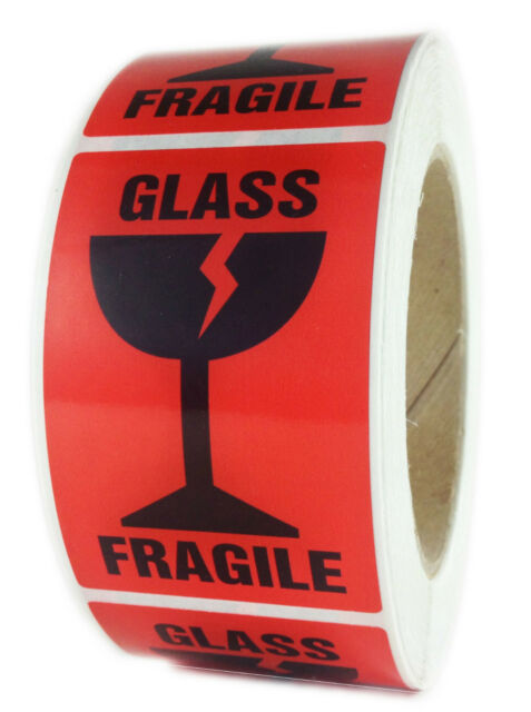 "Glossy Red ""Glass Fragile"" Labels Stickers - 3"" by 2"" - 500 ct Roll"