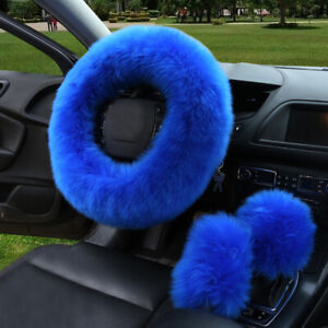 1 Set Car Steering Wheel Cover Mature Gem Blue Furry Fluffy Thick Accessories