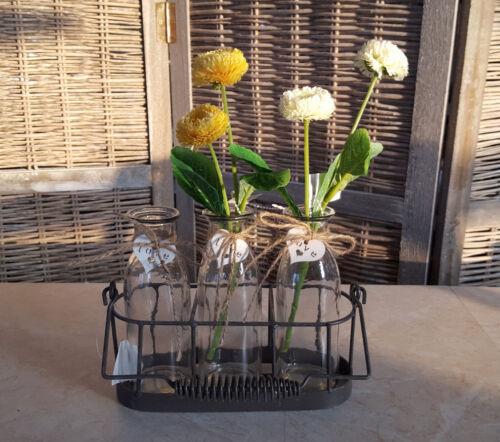 Frühling Tischdeko Metallkorb 4 Glasvasen Flaschen Deko Metallhalterung