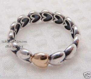5eeceb5b7 MY ONE TRUE LOVE Authentic PANDORA Silver/14K GOLD Hearts Band~Ring ...