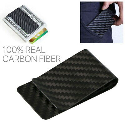 RFID Blocking 100/% Real Carbon Fiber Money Clip Wallet Card Holder Cash Wallet