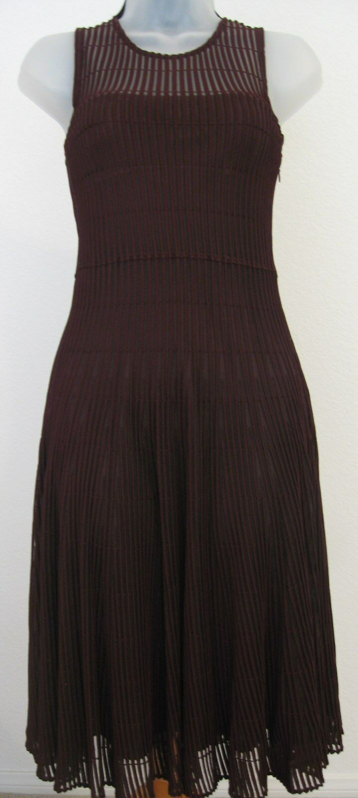 Christian Dior Raf Simons Burgundy Wine Knit Sleeveless Dress Dress Dress Size 36 a55b73