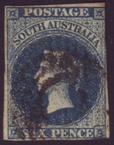 SOUTH AUSTRALIA 6d BLUE QV IMPERF ASC 3 312 MARGINS FU RETAIL $225 A7119