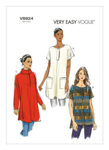PLUS SIZES VOGUE SEWING PATTERN 8924 MISSES 16-26 LOOSE-FITTING PULLOVER TUNICS