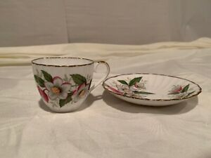 Jason Bone China White Cup and Saucer Set With Brush Gold Rims Made in England