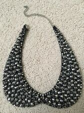 Peter Pan Beaded Collar Necklace Black & Silver