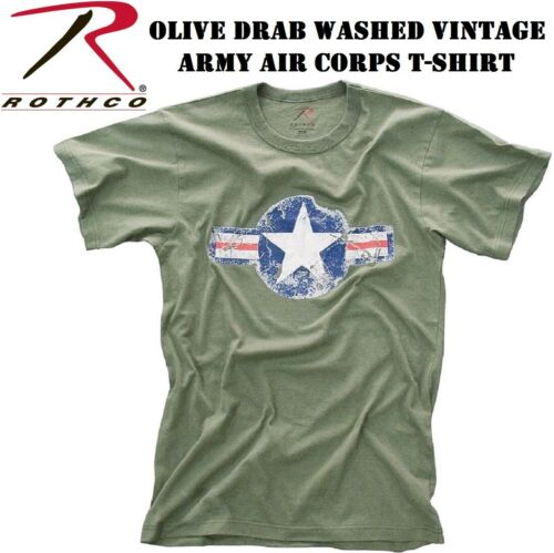 Army Olive Drab Army Air Corp Washed Vintage Short Sleeve T-Shirt 66300 Rothco