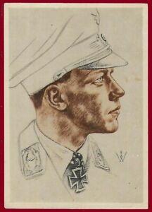 German WW 2 Third Reich postcard major Helmut Wick  - flying ace Luftwaffe