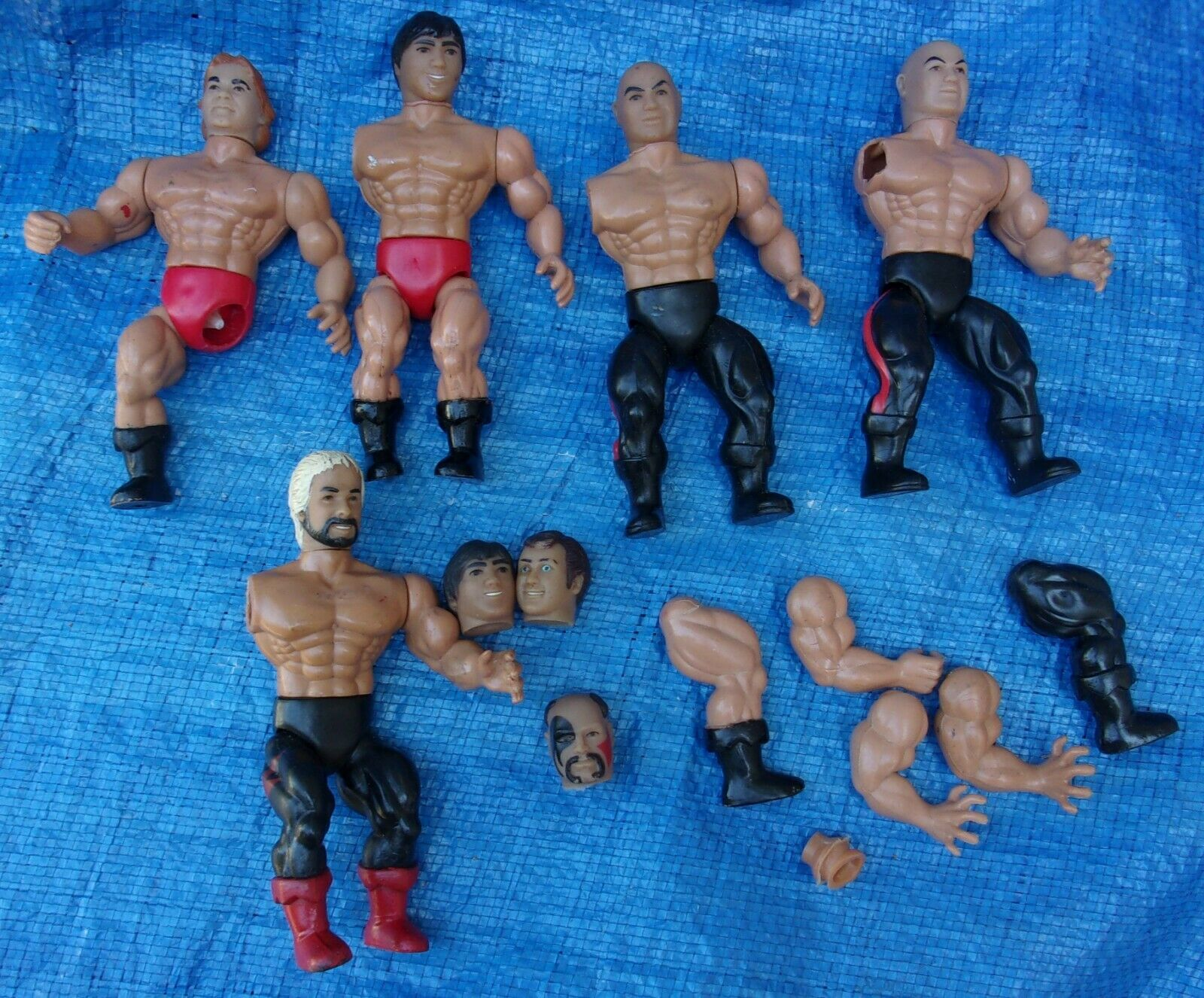 AWA All Star Wrestling Action Figure Parts Lot 1985 Hawk Martel Zbyszko Baron