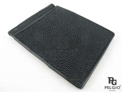 PELGIO Real Genuine Stingray Skin Leather Money Clip Slim Fold Wallet All Black