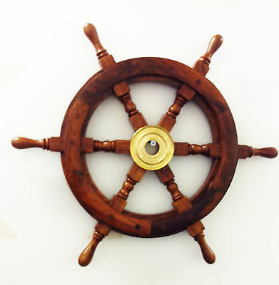 Wooden ship wheel with brass centre section 19 inches