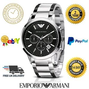 NEW EMPORIO ARMANI AR2434 MEN'S STEEL CHRONOGRAPH WATCH - 2 YEAR WARRANTY