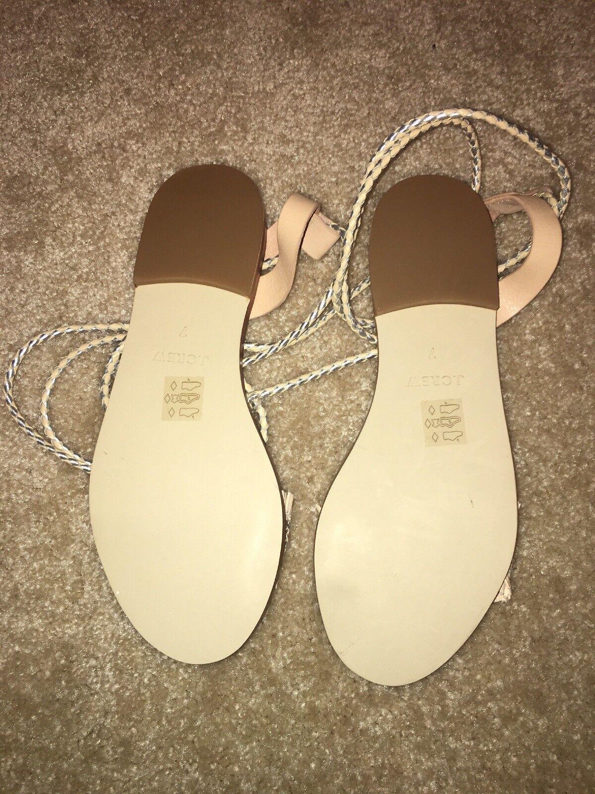 J.Crew Raffia Ankle-Tie Ankle-Tie Ankle-Tie Sandals Metallic Silver Beige bluesh Size 7 0578c8