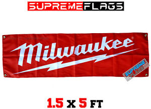 Milwaukee Tools Flag Banner Nothing But Heavy Duty Shop Garage (18x58 in)