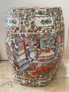 """Vintage Famille Rose Chinese Export Hexagonal Porcelain Garden Stool 18"""" High"""