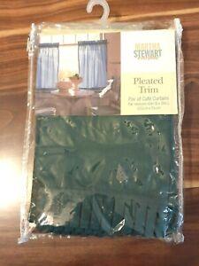 Vintage Martha Stewart Pleated Trim Cafe Curtains Pair 36 L X 60 W Green New Ebay
