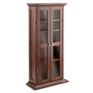 Wooden-Glass-Display-Case-Durable-Vintage-Antique-Cabinet-Two-Doors-Four-Shelves