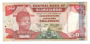 SWAZILAND-50-Emalangeni-VF-XF-Banknote-2001-P-31-AB-Prefix-Paper-Money