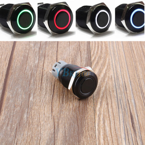 Angel Eye Car Blue//White//Green//Red LED Latching on//off 16mm Push Button Switch