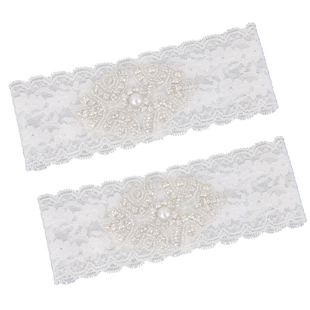 Wedding Wedding stretch lace garter with rhinestones with pearls (white)