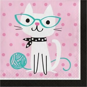 Purr-fect-Pretty-Kitty-Cat-Kitten-Party-Supplies-Luncheon-Napkin-Serviettes-16pk