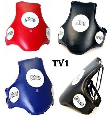 FAIRTEX BODY GUARDS PROTECTOR PADS TV1 BLUE BLACK RED  MUAY THAI BOXING MMA K1