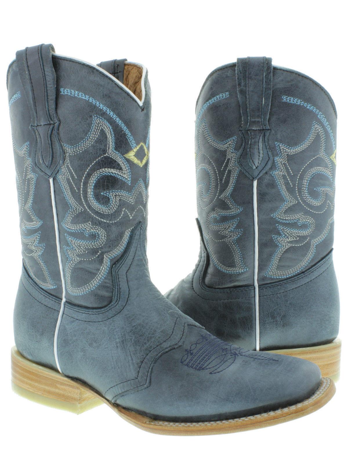 sport dello shopping online Donna  Denim blu Classic Overlay Leather Cowgirl stivali Rodeo Rodeo Rodeo Square Toe  divertiti con uno sconto del 30-50%