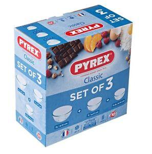 3 Piece Glass Pyrex Bowl Set 0.5L / 1.0L / 2.0L