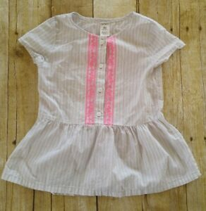 Carters-Girl-Shirt-4t-Cute-Striped-Gray-Pink-Family-Pictures